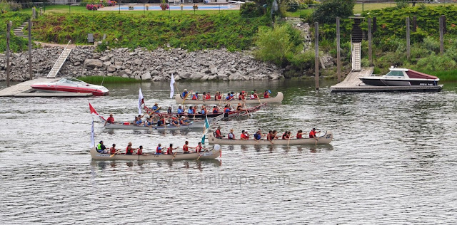 The journey is almost over as the canoes approach Kamloops.