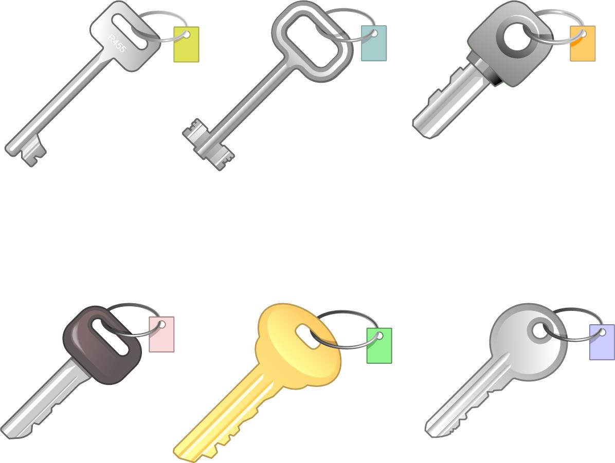 鍵のクリップアート 6 different keys イラスト素材