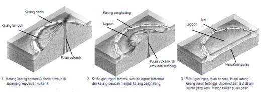 Urutan-uratan bagaimana cara pembentukan pulau karang atau atol.
