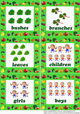 fruit flashcards in plural for learning english