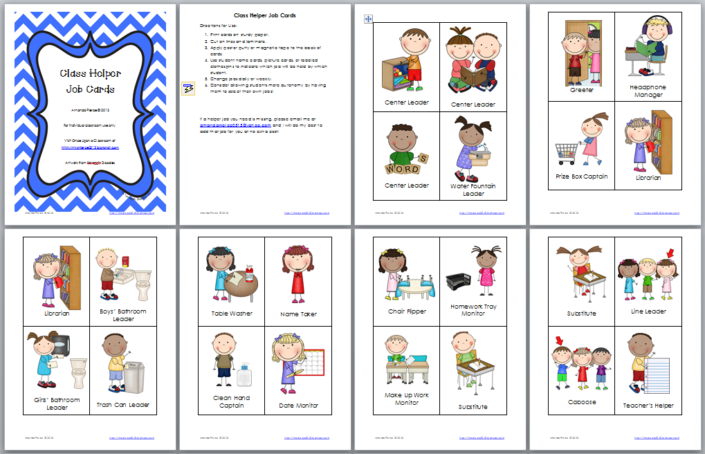 Preschool Job Chart Clip Art Book Covers