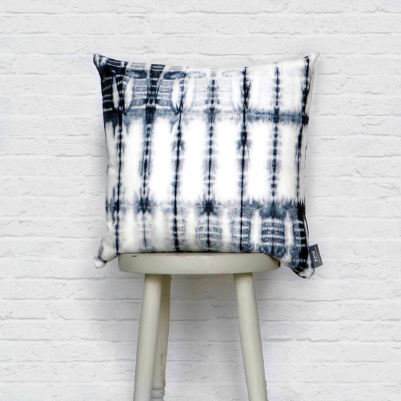 shibori cushion indigo pattern