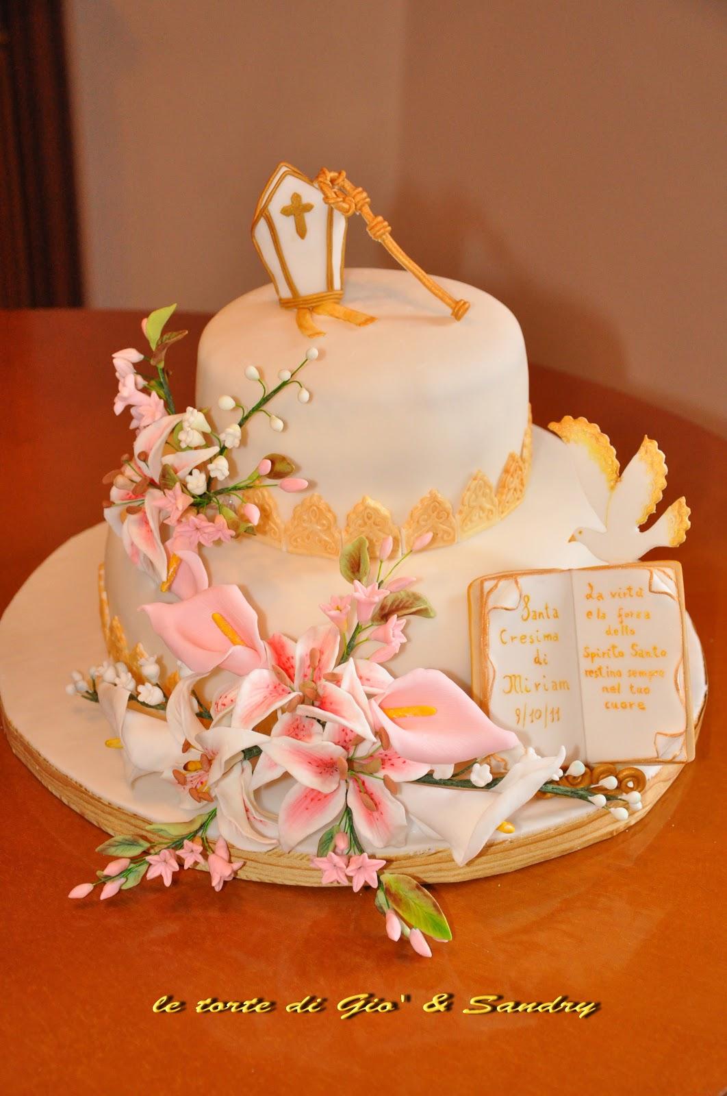 La dolce rosa di monte cresima for Decorazioni torte per cresima