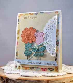 SRM Stickers Blog - Blooms Just for You by Stacey - #card #doily #clearstamps #stamps #janesdoodles #doodleflower #twine
