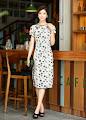 2014 CNY Modern Linen Long Short-Sleeve Cheongsam
