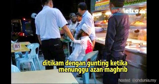 Lelaki Warga Asing Ditikam Gunting Ketika Tunggu Azan Maghrib