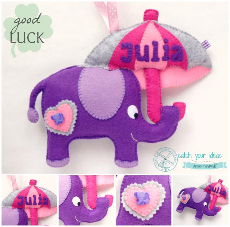 Filc fioletowy slon z filcu z parasolka z imieniem Julia na szczescie Purple elephant felt with umbrella zawieszka na sciane pokoj dzieciecy prezent z filcu