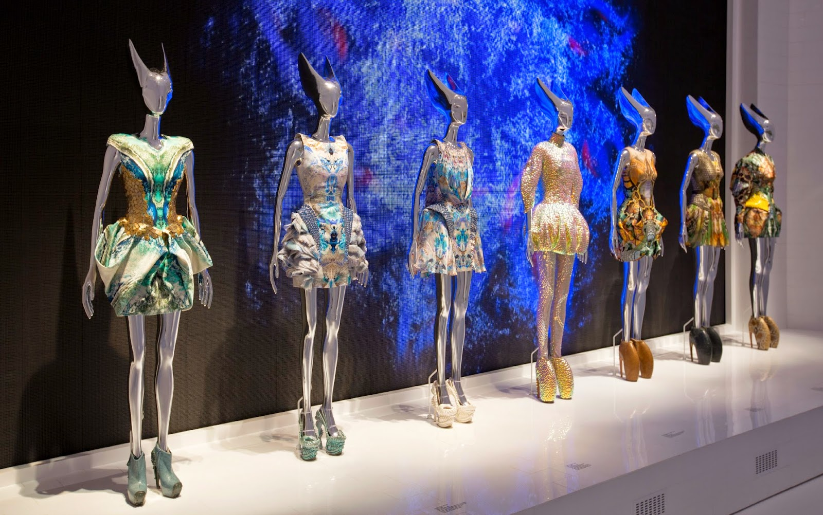Installation view of Platos Atlantis gallery Alexander McQueen Savage Beauty at the Victoria and Albert Museum London