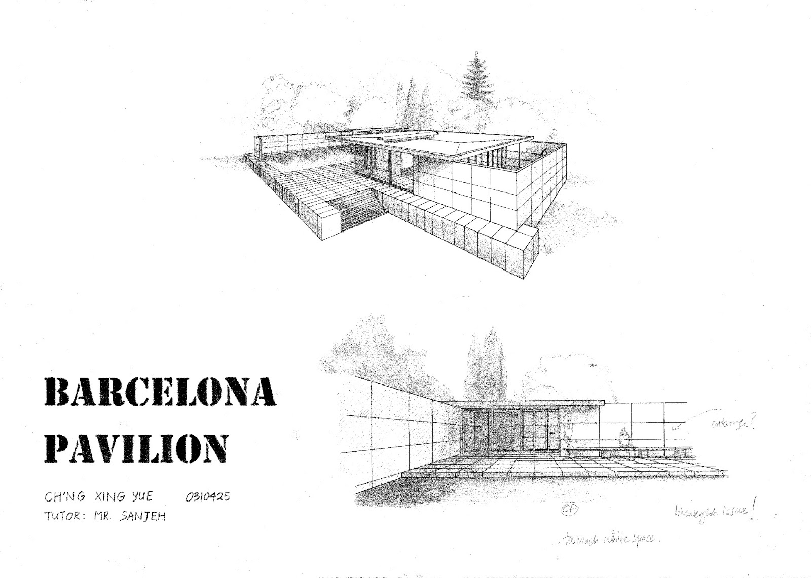 Barcelona pavilion section drawing - Barcelona Pavilion Section Drawings