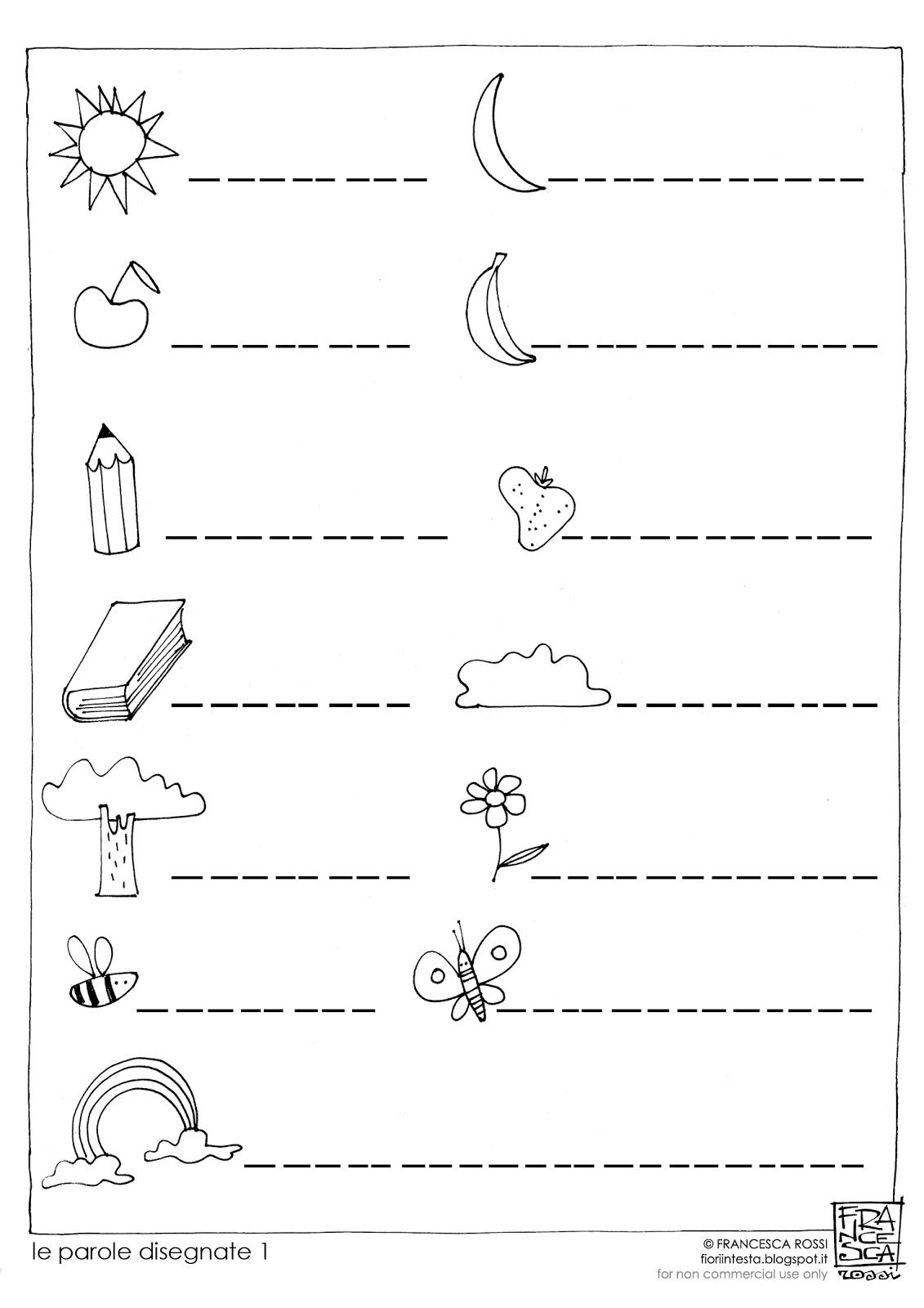 Fiori in testa esercizi di scrittura free printable le for Parole capricciose esercizi