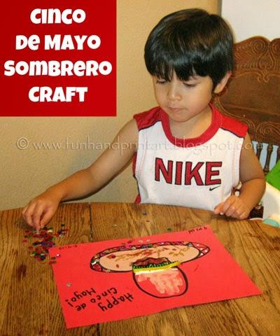 http://funhandprintart.blogspot.ca/2012/05/handprint-sombrero-cinco-de-mayo-craft.html