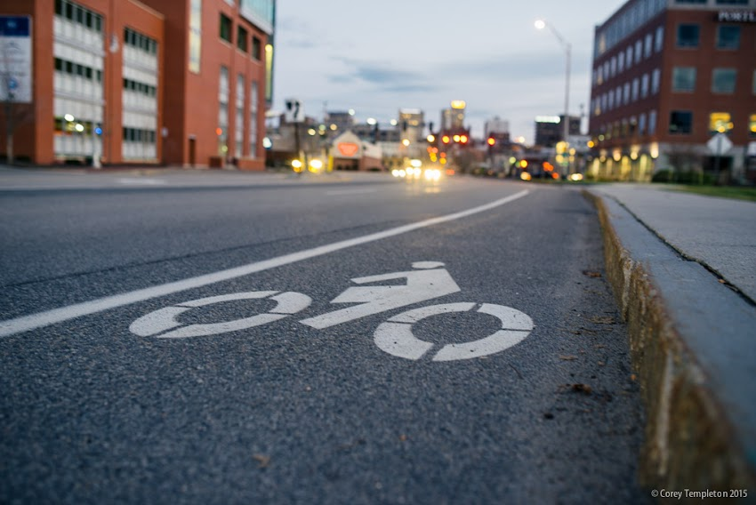 Portland, Maine USA December 2015 bicycle lane on Preble Street in Bayside. Photo by Corey Templeton.