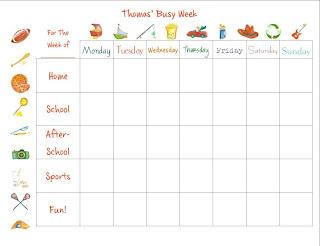 busy week calendar for boys
