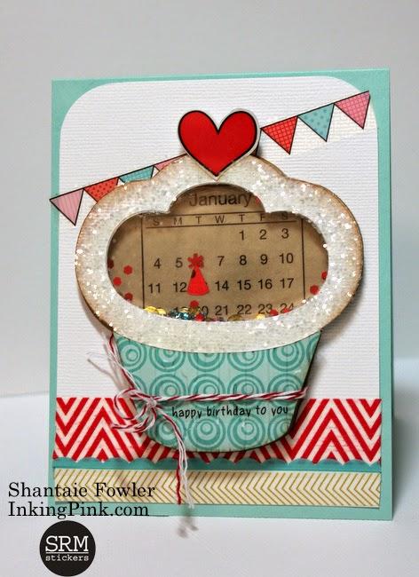 SRM Stickers Blog - Mini Calendar Shaker Card by Shantaie - #birthdaycard #birthday #shakercard #minicalendar #stickers #twine #DIY #srmpress #srmstickers