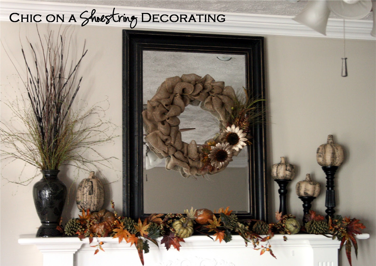 Decorating With Burlap Chic On A Shoestring Decorating Burlap Fall Mantle