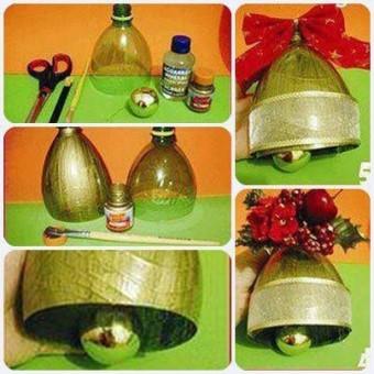 campanas de navidad recicladas de una botella