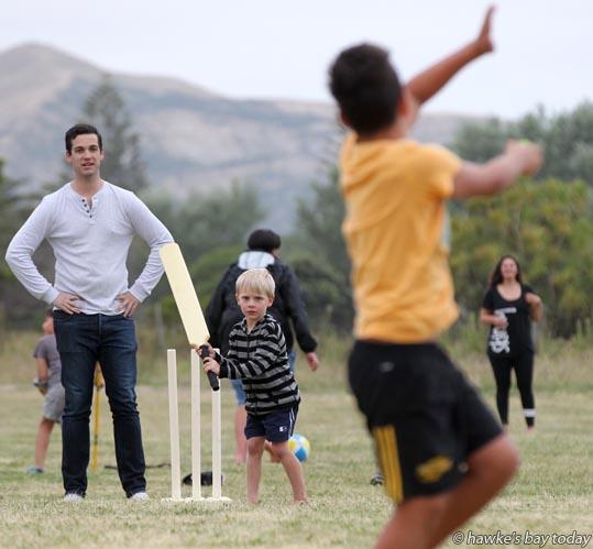 Batting: Luca Haggertey, 5, Maraekakaho, cricket game at Waimarama Seaside Resort, Waimarama , on New Year's Eve. photograph