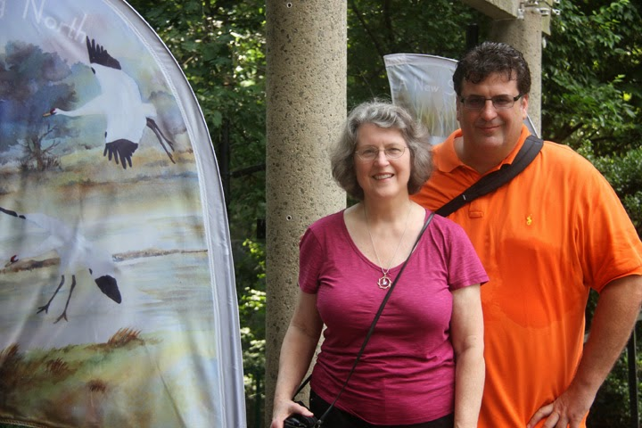 Smithsonian National Zoo with one of my Whooping Crane art banners and son, John--2014