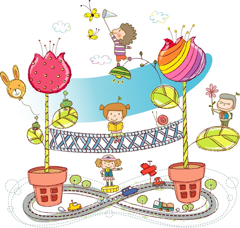 お伽の国で楽しく遊ぶ子供達 children playing Fairyland イラスト素材