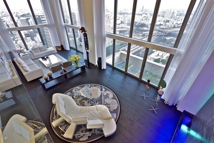 Penthouse living room from above