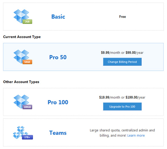 dropbox pricing Dropbox Simpan Fail Secara Online