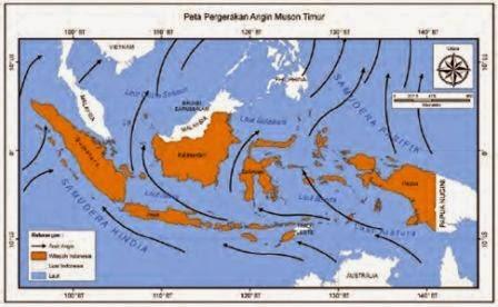 Arah angin pada saat musim kemarau di Indonesia. Angin dari Australia yang kering tidak membawa cukup uap air untuk diturunkan sebagai hujan di Indonesia.