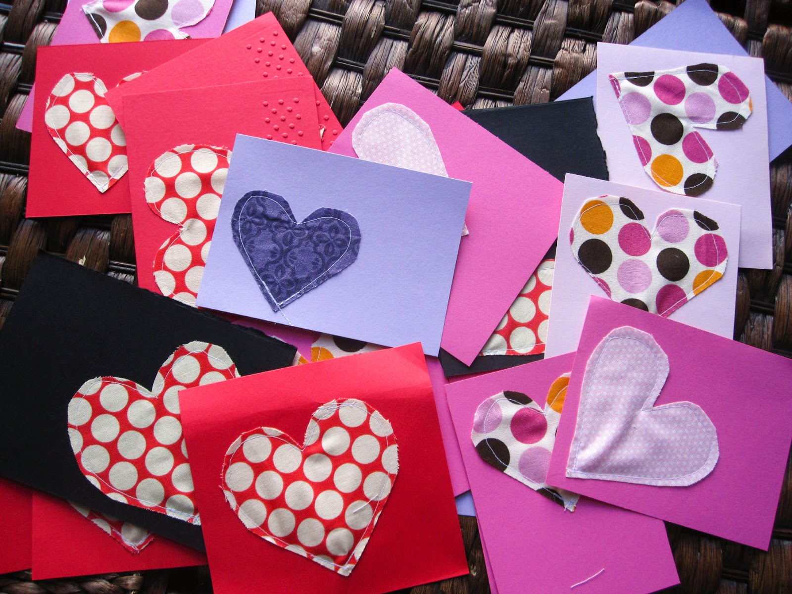 The Homemade Calling Fabric Heart Cards