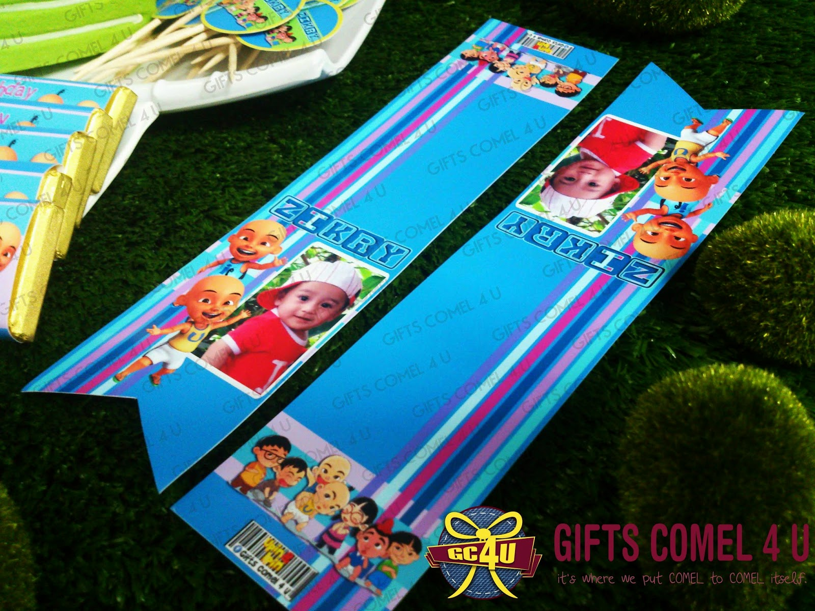 Gifts comel 4 u ordered by nor hazira binti omar upin ipin upin ipin friends bluegreen theme large chocolates with personalized wrapper stopboris Image collections