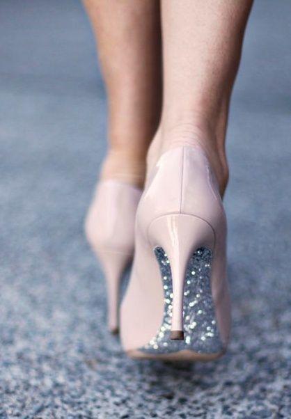 Silver bottom light pink high heels