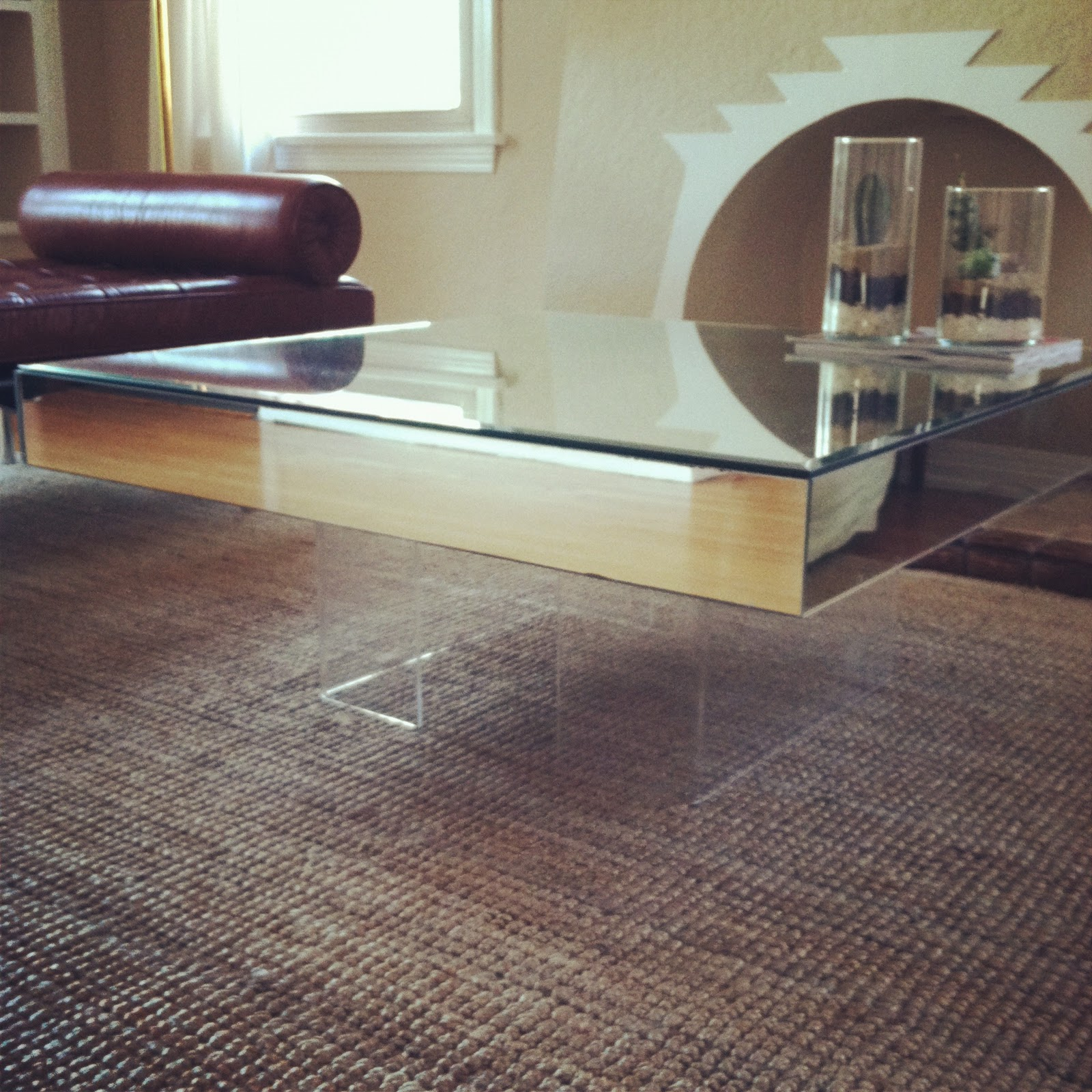 The Treehouse Large Square Mirrored Coffee Table With Lucite Base