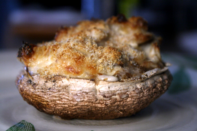 The 99 Cent Chef: Stuffed Portabella with Chicken & Cream Cheese