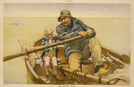 Cartoon showing John Pierpont Morgan and Uncle Sam rowing a boat. From LOC.gov