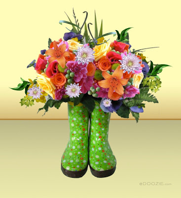 rubber boots, fresh flower arranging, arrangement of flowers, floral, polka dot green rubber boots with flowers in them, yellow rose, orange lily, Have you thought about anything wonderful today?