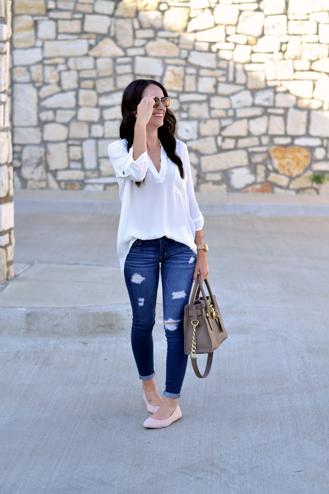 Casual Summer Look with nude flats, distressed denim and white tunic