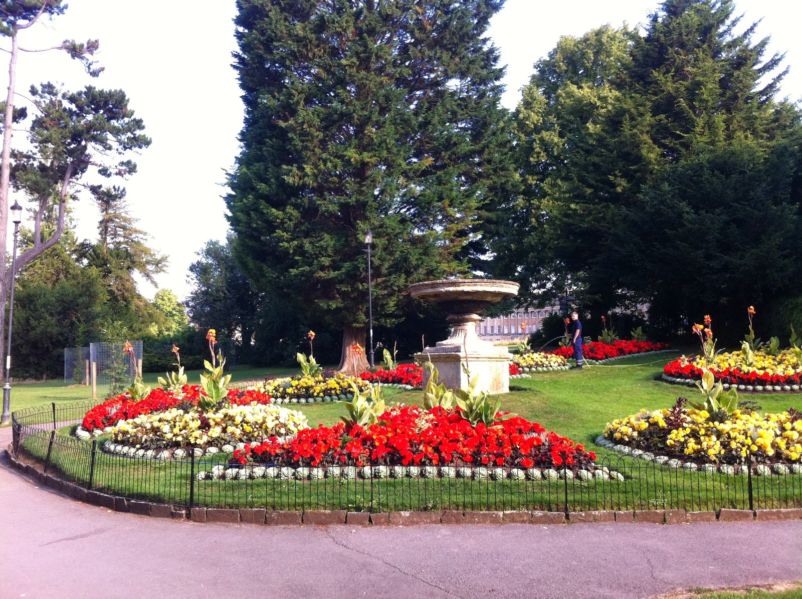 Floral display and gardener, Royal Victoria Park, Bath