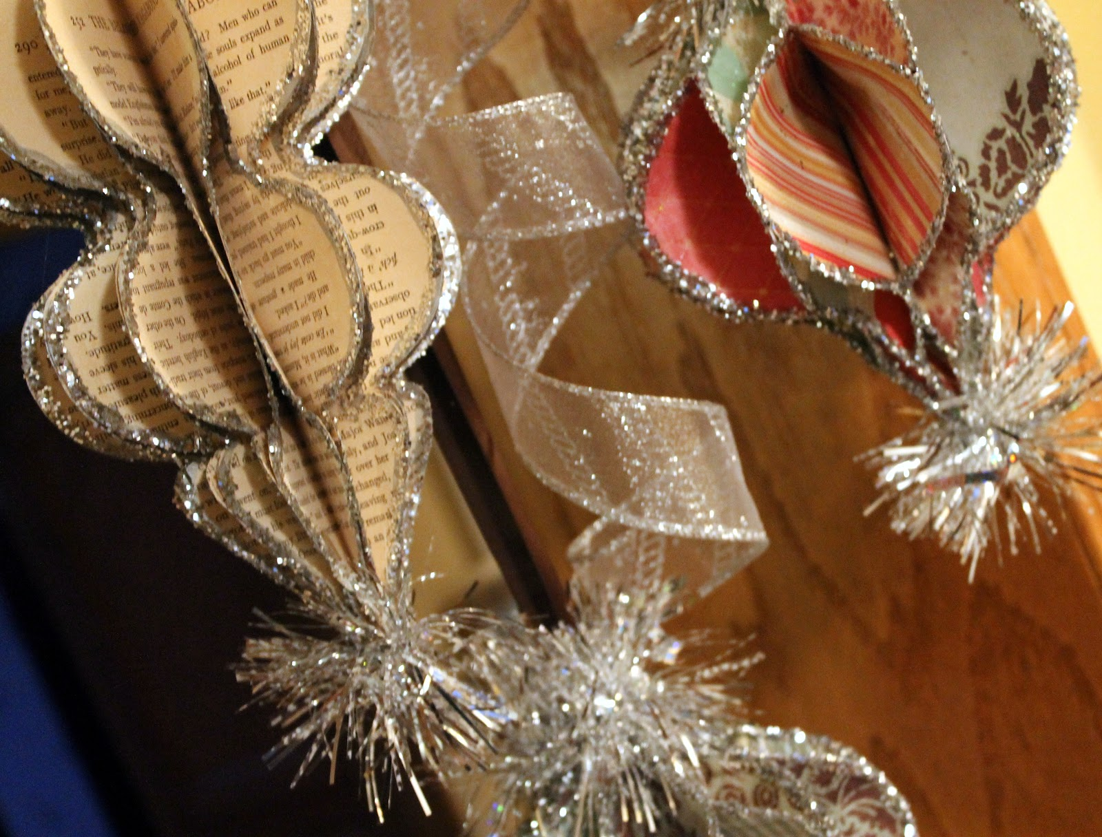 honeycomb christmas ornaments from vintage book pages scrapbook paper