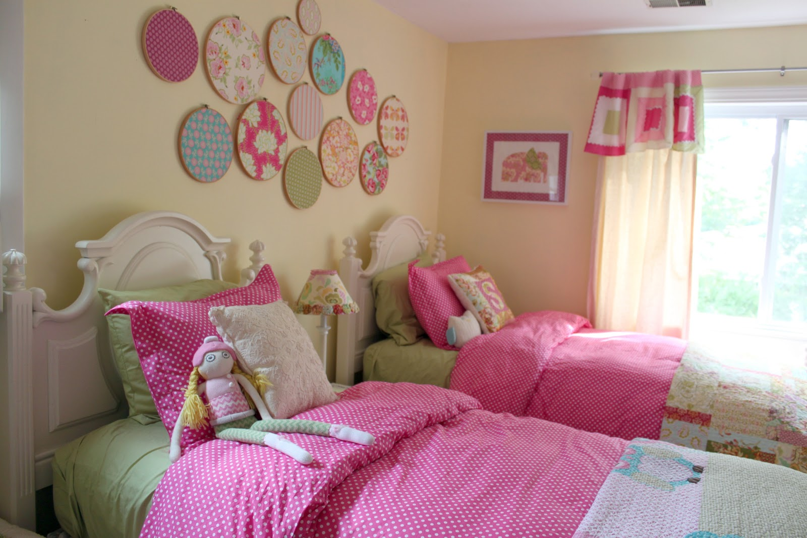Decorating girls shared toddler bedroom the cottage mama for Girls room decor