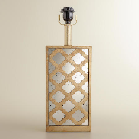 COST PLUS WORLD MARKET MOROCCAN LATTICE MIRROR TABLE LAMP BASE