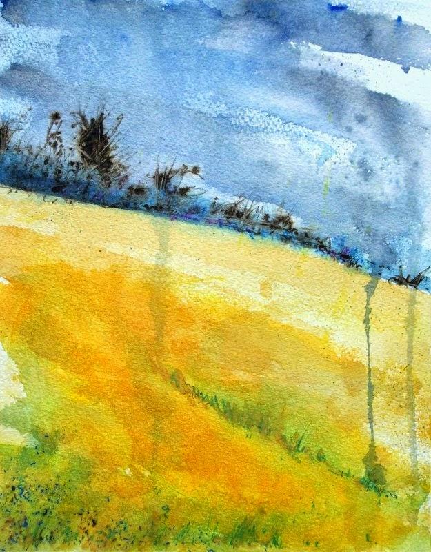Watercolour landscape rapeseed field stormy sky
