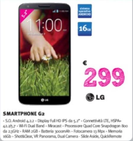 Nel volantino Supermedia pre mondiale troviamo LG G2 a 299 euro