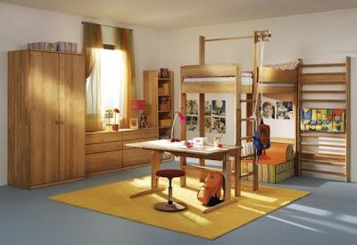 Phòng trẻ em với chất liệu gỗ sồi