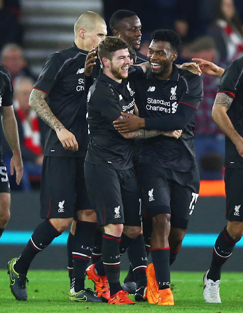 CELEBRATION: Moreno and Sturridge celebrate a goal in the 6-1 drubbing of Southampton