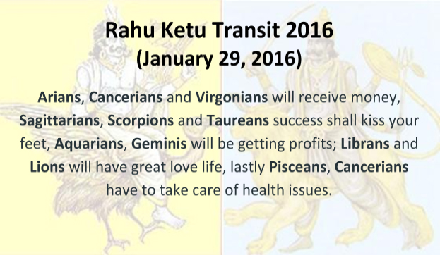 The transit predictions of Rahu & Ketu for 2016 are here