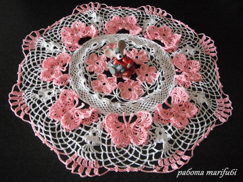 объемная салфетка розы крючком схема