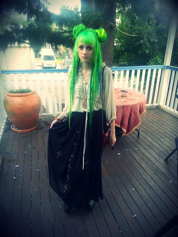 lime green grass dyed dye hair dreads buns goth alternative girl fashion cute