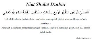 Niat Shalat Dzuhur