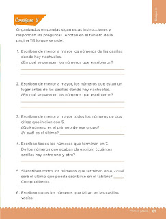 Apoyo Primaria Desafíos matemáticos 1er grado Bimestre 3 lección 31 Un mensaje para el rey