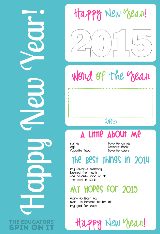 New Year's Printable Interview and Craft Ideas from The Educators' Spin On It