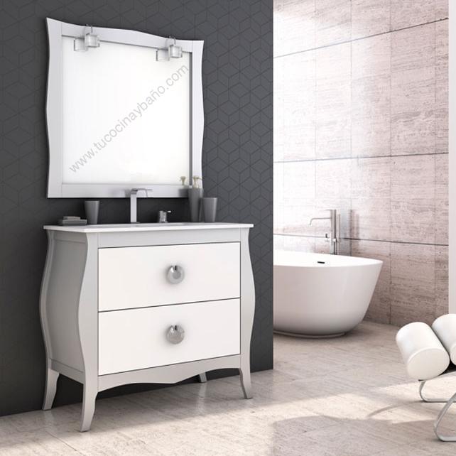 Mueble de ba o vintage mozart tu cocina y ba o - Muebles pintados en plata ...