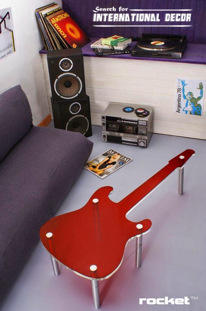creative interiors in rock style, cool table